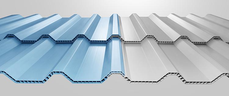 Atap Alderon Twinwall Gelombang warna Biru dan Putih