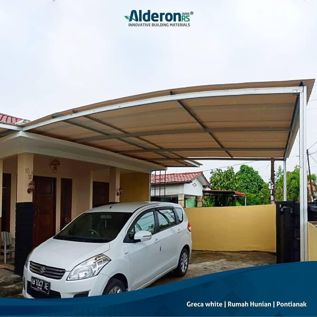 Alderon RS - Aplikasi Atap Alderon pada Kanopi Rumah Minimalis Greca White