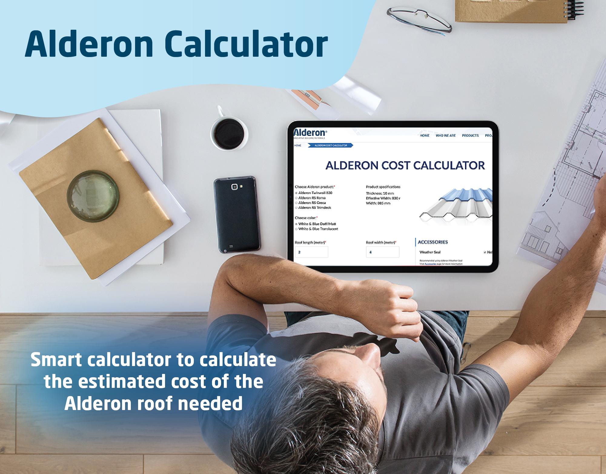 kalkulator alderon menghitung harga kebutuhan atap