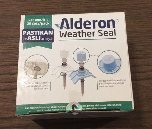 kemasan baut sekrup alderon box weather seal