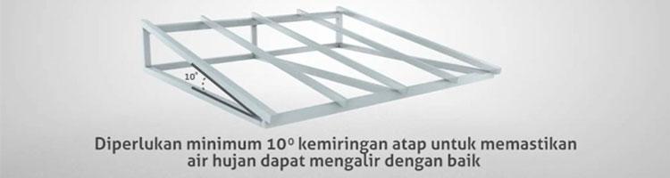sudut kemiringan pemasangan atap alderon
